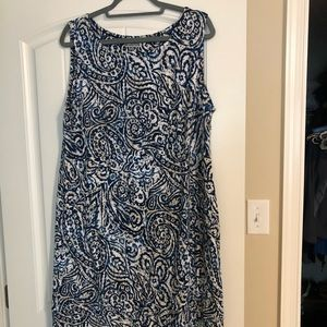 Blue and beige patterned dress size 1X